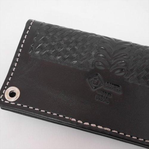 他の写真1: AKER/BASKET WEAVE HALF FLAP WALLET(Made in USA)(ブラック/シルバー) 【30%OFF】[トラッカーウォレット]