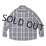 COOTIE/Ombre Nel Check Zip Up Shirt(スモークブルー)[オンブレネルチェックジップアップシャツ-20秋冬]