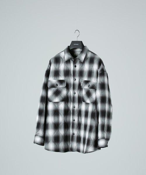 他の写真1: COOTIE/Ombre Check Quilting CPO Jacket(ブラック/オフホワイト)[オンブレチェックキルティングCPO JKT-21春夏]