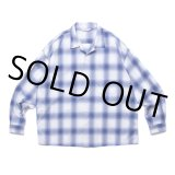 COOTIE/Ombre Check Open Collar Shirt(オフホワイト/ブルー)[オンブレチェックオープンカラーシャツ-21春夏]