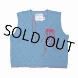 "DAIRIKU/""LOVE"" Hand Embroidery Argyle Knit Vest(スカイブルー)[アーガイルニットベスト-21春夏]"