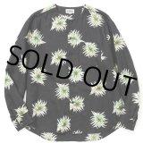 CALEE/Allover flower pattern linen no collar L/S shirt(ブラック)[リネンノーカラーシャツ-21春夏]