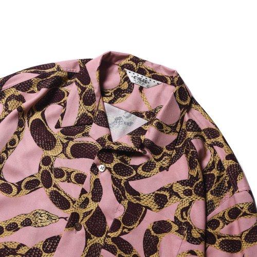 他の写真2: CALEE/Allover snake pattern S/S shirt(ピンク)[ハワイアンシャツ-21春夏]
