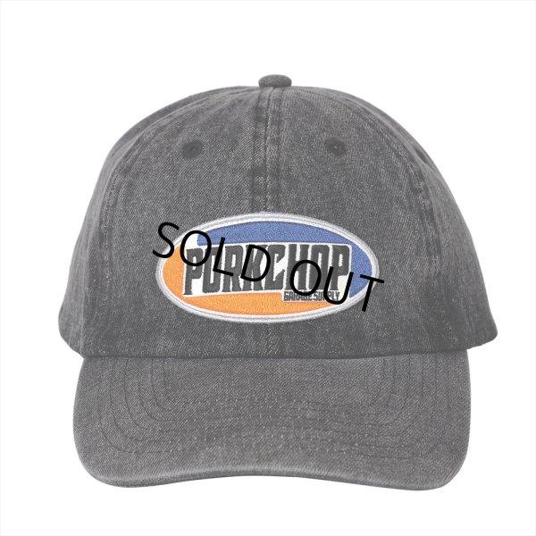 画像1: PORKCHOP/2nd Oval DENIM BASEBALL CAP(ブラック)[デニムキャップ-21春夏]