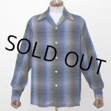 WACKO MARIA/60'S OMBRE CHECK OPEN COLLAR SHIRT(TYPE-1)(ブルー)[オンブレチェックオープンカラーシャツ-21秋冬]