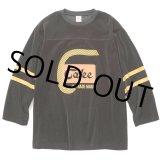 CALEE/8 Length sleeve velour football t-shirt(ブラック)[ベロアフットボールT-21秋冬]
