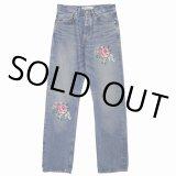 "DAIRIKU/""Flower"" Cross Embroidery Slim Denim Pants(インディゴ)[フラワー刺繍スリムデニムパンツ-21秋冬]"