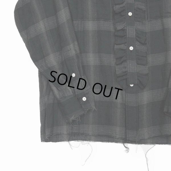 画像4: DAIRIKU/Dallas Triple Gauze Frill Check Shirt(ナイト)[トリプルガーゼフリルチェックシャツ-21秋冬]