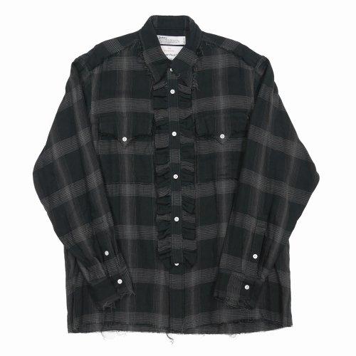 他の写真1: DAIRIKU/Dallas Triple Gauze Frill Check Shirt(ナイト)[トリプルガーゼフリルチェックシャツ-21秋冬]