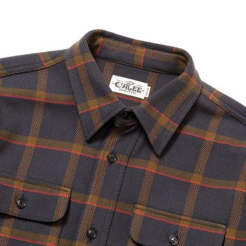 他の写真2: CALEE/6/6 Twill L/S check shirt(ネイビー)[ツイルチェックシャツ-21秋冬]