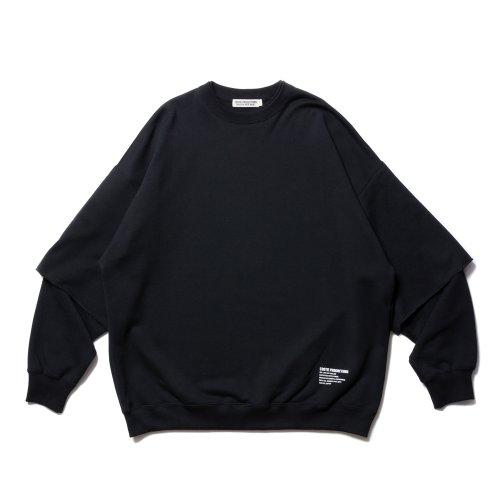 他の写真1: COOTIE/Cellie Crewneck Sweatshirt(ブラック)[レイヤードクルーネックスウェット-21秋冬]