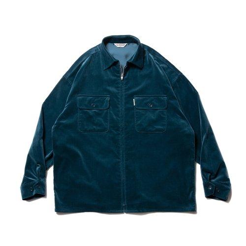 他の写真1: COOTIE/Velour Zip Up Work Shirt(ターコイズ)[ベロアジップアップワークシャツ-21秋冬]