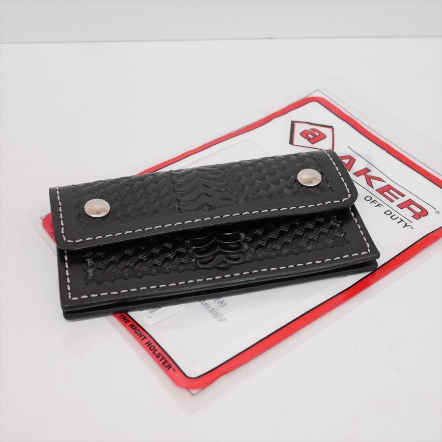 aker basket weave half flap wallet made in usa ブラック シルバー